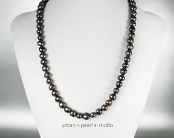 Long Black Pearl Necklace Baroque Pearl Necklace Freshwater Pearls Simple Strand of Black Pearls 24 Inch Necklace