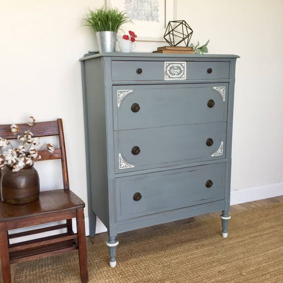 Tall Chest of Drawers - Distressed Furniture - 4 Drawer Dresser - Farmhouse Furniture - 4 Drawer Dresser, Vintage Furniture, Bedroom Drawers