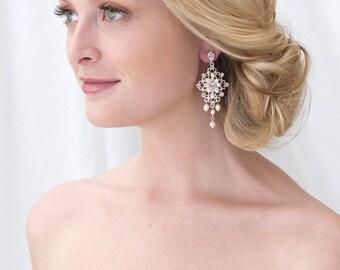 Freshwater Pearl Wedding Earrings, Silver & Pearl Bridal Earrings, Rhinestone Wedding Earrings, Classic Silver Bridal Earrings ~JE-4078
