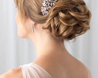 Gold Bridal Hair Comb, Pearl Wedding Hair Comb, Gold Bridal Headpiece, Pearl Hair Comb, Floral Comb, Rhinestone Wedding Comb, Bride ~TC-2228