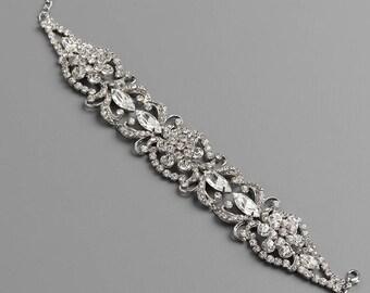 Rhinestone Wedding Bracelet, Floral Bracelet, Silver Bridal Bracelet, Vintage Inspired Crystal Bracelet, Floral Bridal Accessory ~JB-4843