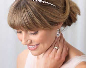 Pearl and Rhinestone Tiara, Bridal Hair Accessory, Rhinestone and Pearl Crown, Princess Tiara, Floral Tiara, Bridal Leaf Crown ~TI-723