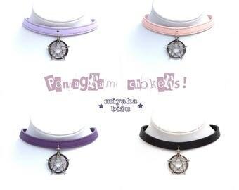 pentagram choker pastel goth gothic nu lolita alternative kawaii cute harajuku pink violet black