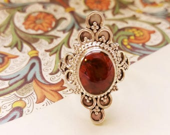 Garnet silver ring - Vintage style jewelry victorial gothic boho jewels - Cersei Lannister ring