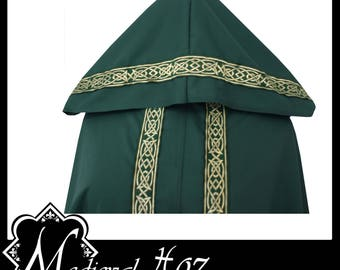 High Quality Unisex Dark Green Poly Cotton Fighting Cloak with Shimmer Satin lining and Medieval Celtic Trim. LARP Medieval Costume NEW