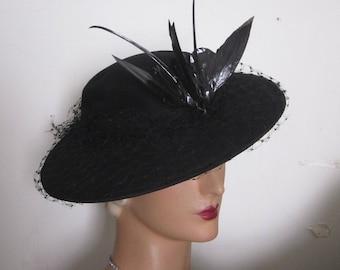 SALE - Francesca - 1940's Black Wool Felt Tilt Hat with Two Birds Decoration