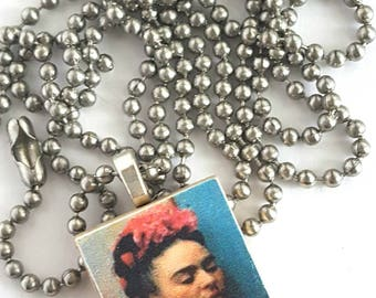 Frida Kahlo Scrabble Tile Necklace with Stainless Steel Ball Chain