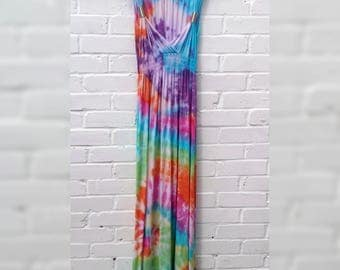 Rainbow Tie Dye Maxi Dress Boho Bohemian to fit UK Size 10 or US size 6 Summer Festival