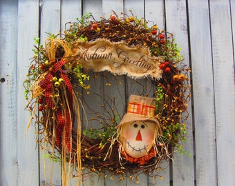 Fall Wreath - Autumn Wreath - Fall Door Wreath - Thanksgiving Wreath - Scarecrow  Wreath - Berry Wreath - Primitive Country Wreath - Wreath
