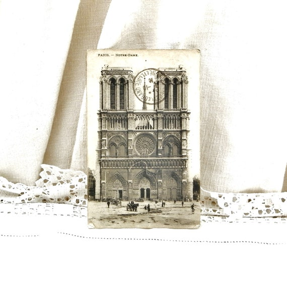 Antique French Black and White Postcard of Notre Dame de Paris Posted in 1916 from Place de la Bourse, Parisian Decor, Deltiology France