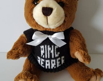 "10"" Brown Personalized Ring Bearer Teddy Bear"