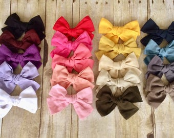 "SET of( 10) 4.75"" Cotton Bows, U choose Big pinwheel knot hair bows clips, Large pack of girls hairbows"