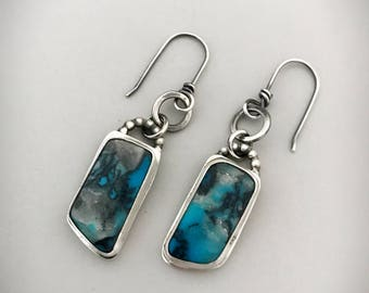 RESERVED. Handmade Turquoise Drop Earrings, Genuine Arizona Bisbee Turquoise, Silver Gemstone Jewelry, Unique One Of A Kind Jewelry.