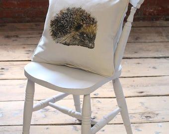 Handmade Screen Printed Hedgehog Cushion