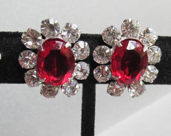 1950's Vintage Sterling Silver Crystal & Ruby Rhinestone Earrings