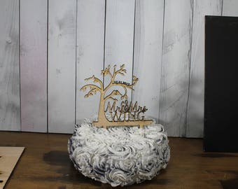 Wedding Cake Topper/Love Birds/Tree/Mr and Mrs/Cake Decor/Top for Cake/Cake Decoration/Surname/Personalized