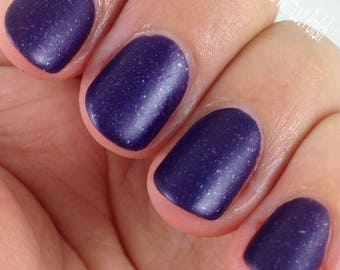 Bow Ties Are Cool Nail Polish - matte metallic purple with metallic flakies