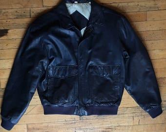 Vintage Navy Blue Leather Bomber Jacket Mens Size Large