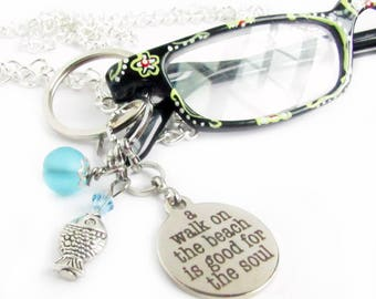Eyeglass Lanyard, Walk on the Beach Quote Lanyard, Eyeglass Chain, ID Badge Lanyard, Spectacles Necklace, ID Badge Holder, Chain for Glasses