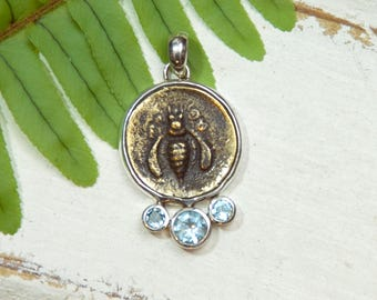 Honeybee Bee Pendant Necklace - Rustic - Blue Topaz Gemstones -  Sterling Silver - coin pendant II
