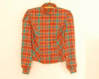 Red and Teal Plaid Blouse with Rounded Collar - 1980s