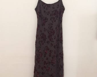 Purple Velvet Burn-Out Maxi Dress - Early 90s