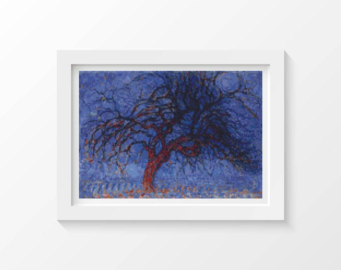 Cross Stitch Kit, Embroidery Kit, Art Cross Stitch, Evening Red Tree by Piet Mondrian (PIET02)