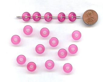 24 Vintage Hot Pink Matte Acrylic 3x12mm. Donut Spacer Beads 3408