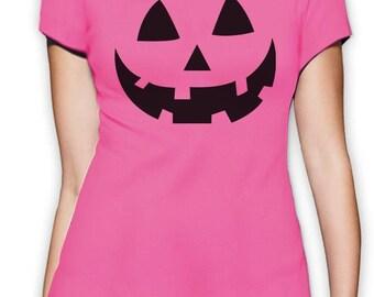 Smiling Pumpkin Face - Easy Halloween Costume Fun Women T-Shirt