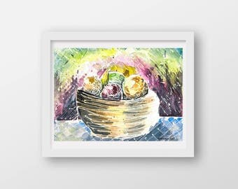Kitchen Art, Fruit Bowl, Abstract Art Print, Colorful Watercolor Painting, Kitchen and Restaurant Decor, Cheerful Modern, Fruit Giclee Print