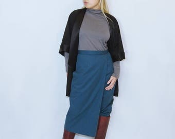 AMY - Wrap leg asymmetrical teal green blue capri pants skirt