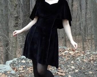 Velvet Butterfly Cape Dress