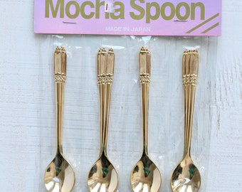 Gold Plate Vintage Mocha Spoons Made in Japan, Stainless Steel, Gold Flatware Cutlery