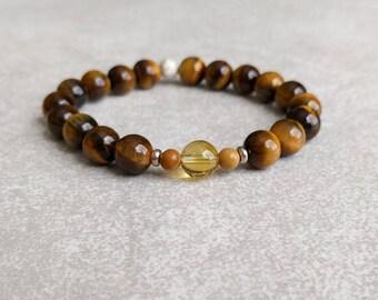 Tigers Eye Bracelet - Chakra Bracelet - Solar Plexus Chakra - MANIPURA - 3rd Chakra - Yoga Bracelet - Gemstone Energy Bracelet - Item #412