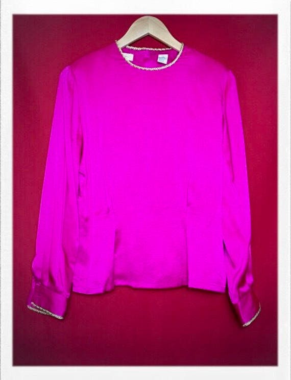 Vintage Women's Pink Silk Top with Gold Rope Trim Size 4 Silk