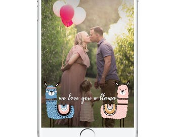 Gender Reveal Snapchat Geofilter, Gender Reveal Party Girl or Boy Love you a Llama Llama Mama Gender Bridal Baby Shower Snapchat Cute
