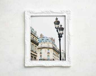 Paris Photography Print - Street Lamp with Buildings in 1st Arrondissement - Paris Wall Art - Neutral Photography Print