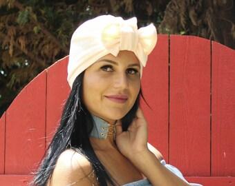 Soft Peach Color Bow Turban, Turban Headband, Front Twist Turban, Beautiful Turban, Pretty Turban, Fancy Turban, Front Twist Hat, Turban
