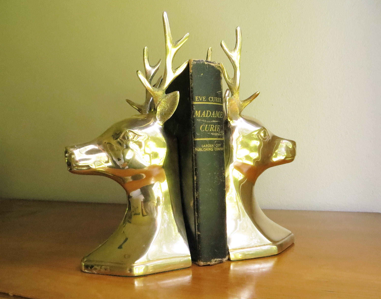 Vintage brass deer bookends brass bookends hollywood - Deer antler bookends ...