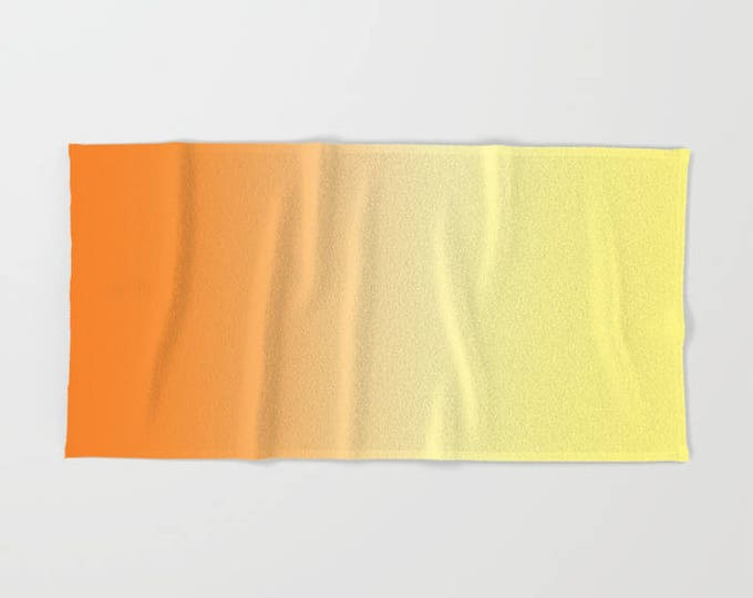 Bath Towel - Orange to Yellow Ombre - Shower Bath Towel  - Microfiber - Cotton Terry Cloth - Made to Order