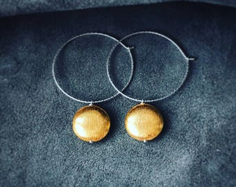 Gold Drop Hoop Earrings, Sterling Silver