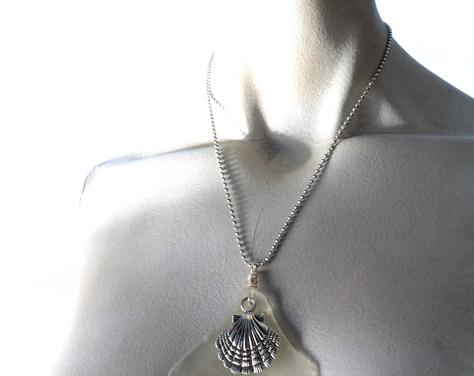 """Large Sea Glass Bottle Bottom Pendant Embossed with a #15 on a Sterling Wire Bail with a Silver Scallop on Stainless Steel Ball Chain 20"""""""