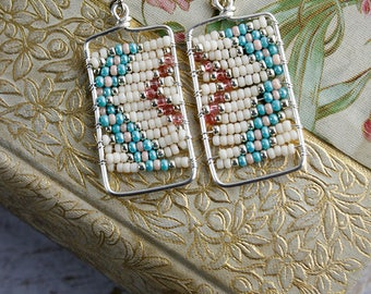 Turquoise and peach geometric beaded earrings