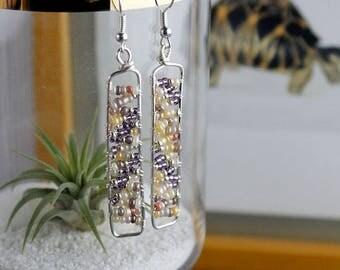 Earthy brown cream and purple beaded earrings