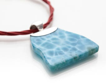 Larimar Necklace, Marco, Larimar Stones and Read Leather Strings Matched, Handcrafted in Dominican Republic, 16 Inch Necklace