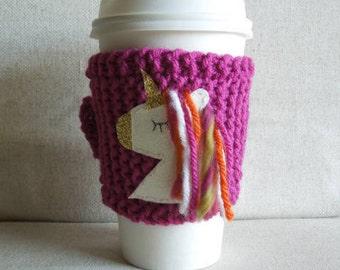 Unicorn Coffee Cozy, Mug Sweater, Coffee Sleeve, Mug Cozy / Pink Gold Orange