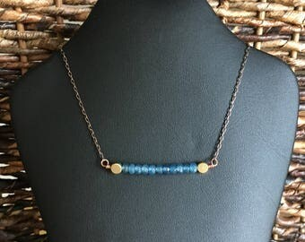 Blue Faceted Jade Bar Necklace, 17.5 inches - 19.5 inches