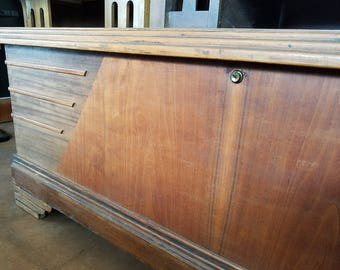 Art Deco/SweptWing solid cedar hope chest, wool blanket trunk, or storage bench