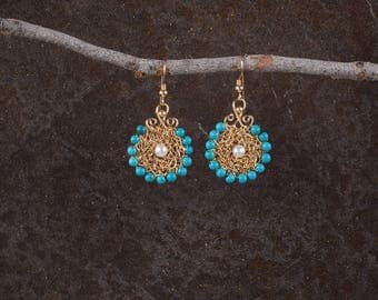 Turquoise & Pearls Dangle Earrings, Statement Earrings, Gold Dangle Earrings, Turquoise Jewelry, 14K Gold Filled, Ethnic Style Jewelry,