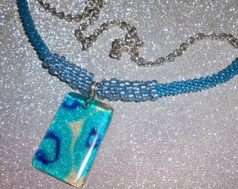 Kumihimo Necklace with Resin Pendant